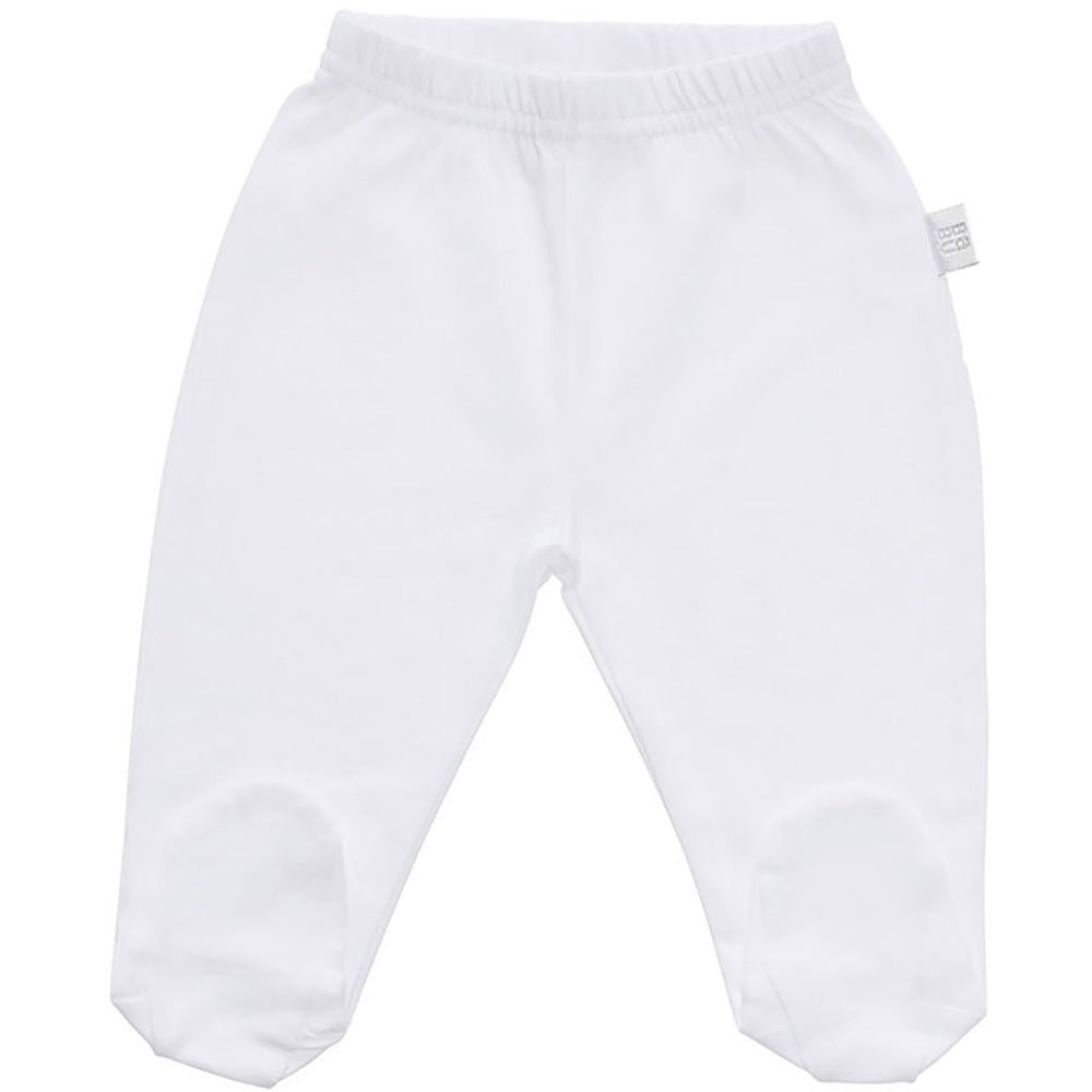 Footed Baby Leggings | Organic Cotton | White or Grey Star Pants Babu White Newborn
