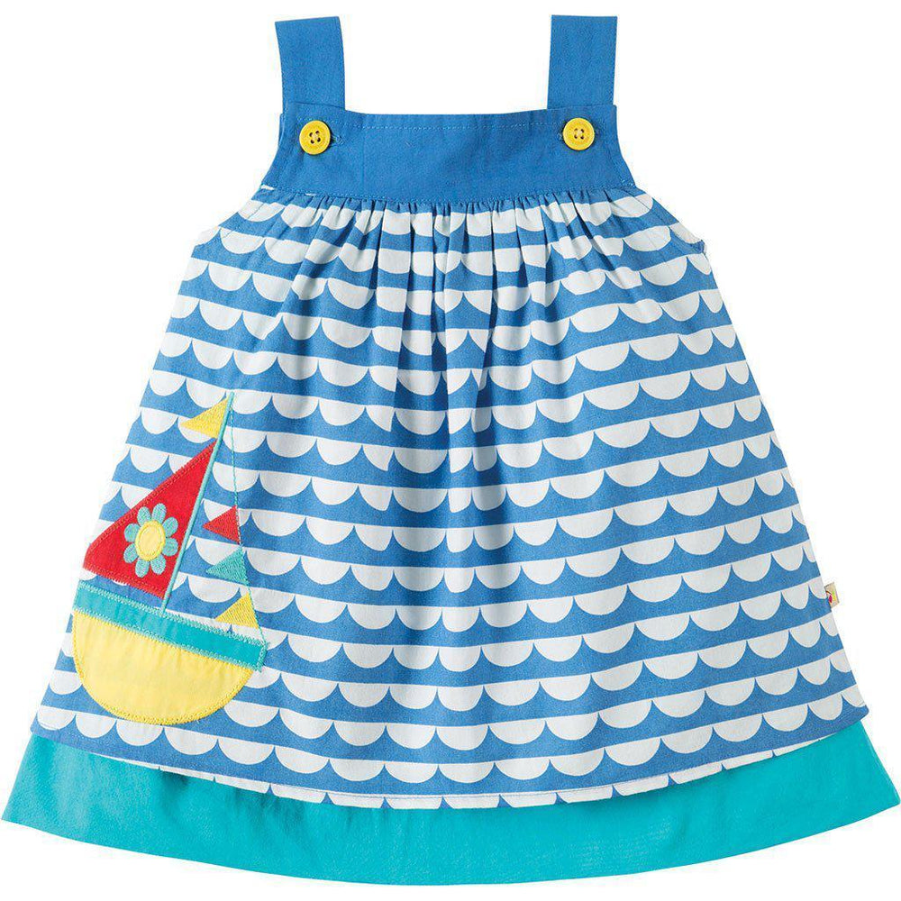Frugi | Organic Cotton | Baby Dress | Mylor Border Dress | High Tide/Boat Dress Frugi