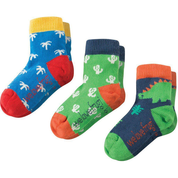 Frugi | Organic Cotton | Baby Socks | 3 Pack | Dino Multipack Socks Frugi