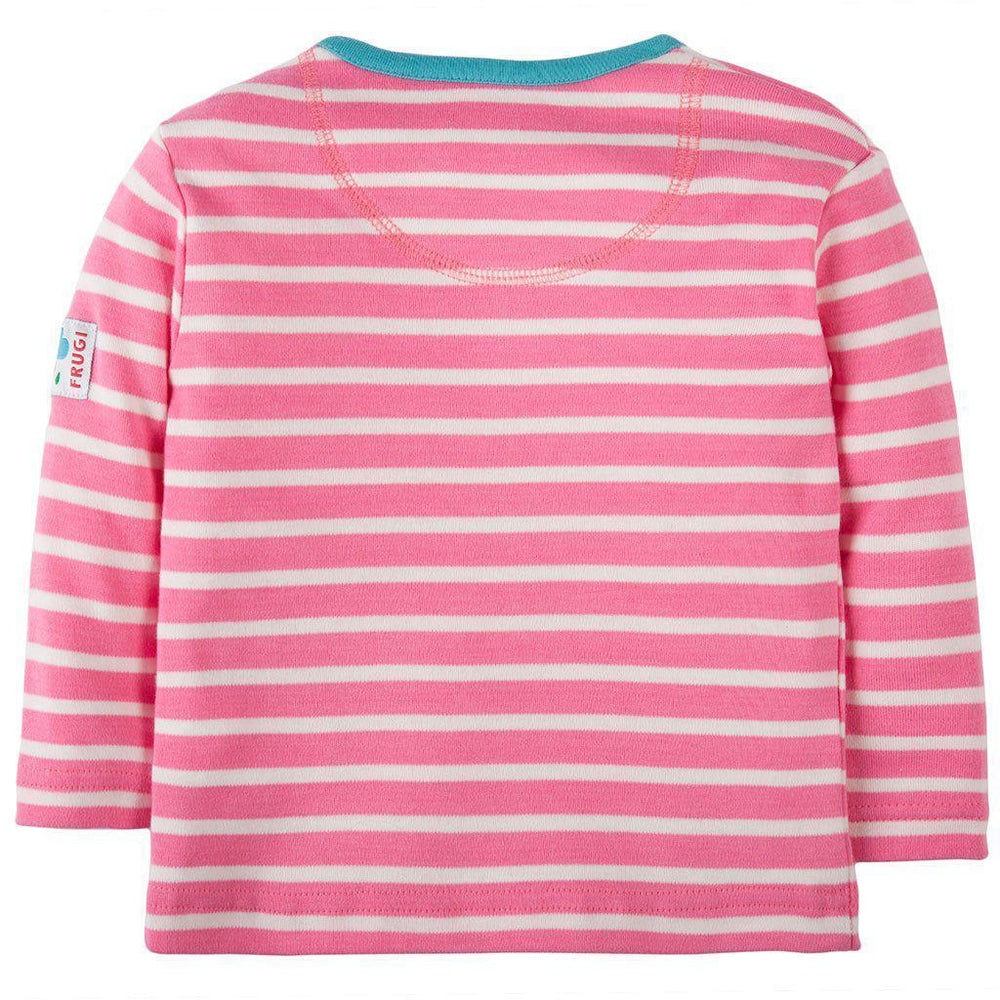 Frugi | Organic Cotton | Button Applique Top | Petal Pink Breton / Dog Rear