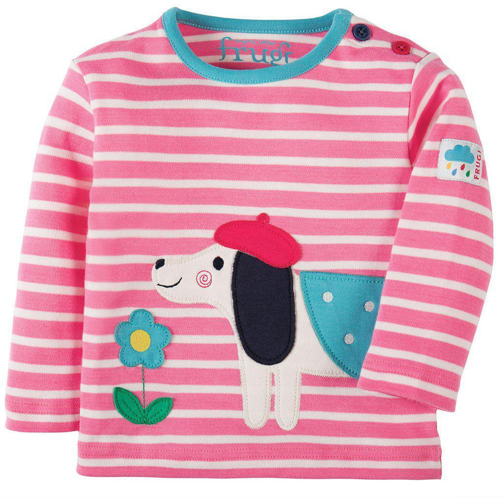 Frugi | Organic Cotton | Button Applique Top | Petal Pink Breton / Dog