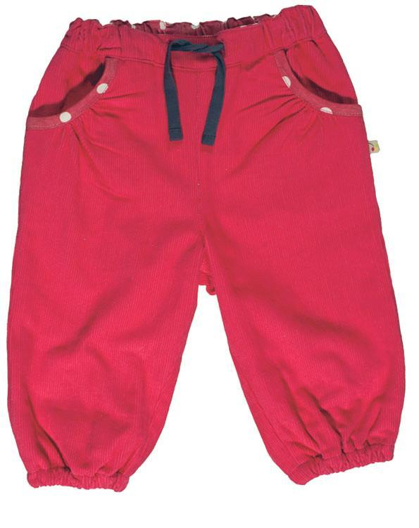 Frugi - Organic Cotton - Cord Pull Up Pants - Raspberry (0-3 months) Pants Frugi