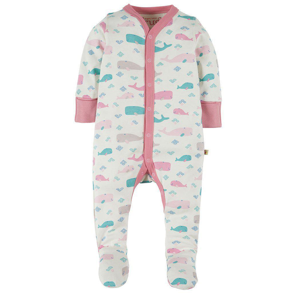 Frugi | Organic Cotton | Darling Babygrow | Little Whale Growsuit Frugi