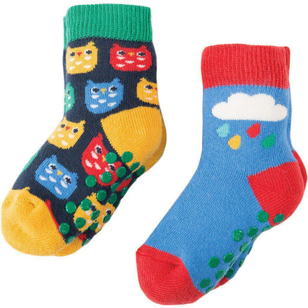 Frugi | Organic Cotton | Grippy Socks | 2 Pack | Owl / Rainbow Cloud Socks Frugi