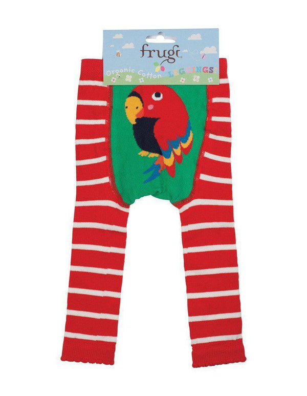 Frugi - Organic Cotton - Little Knitted Leggings - Tomato/Parrot