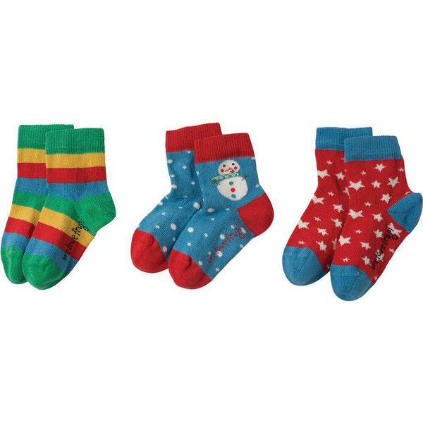 Frugi - Organic Cotton - Little Socks - Snowman Multipack Socks Frugi 0-6 months
