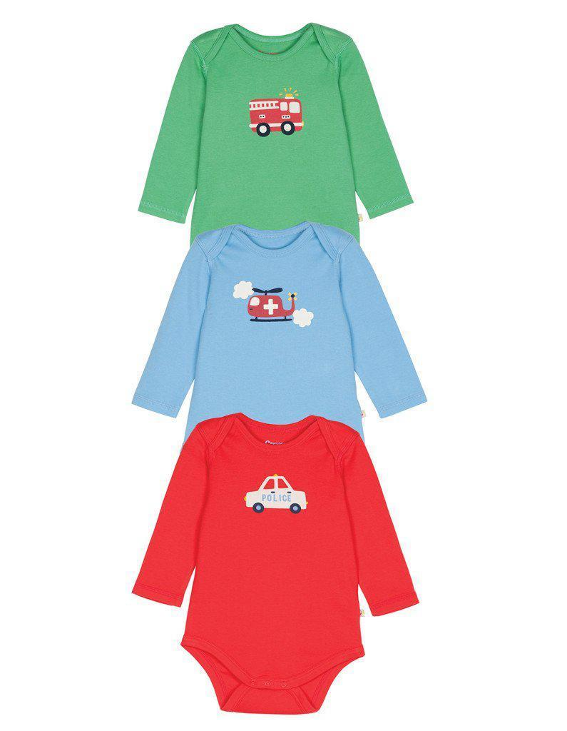Frugi - Organic Cotton - Long Sleeve Body Suits - 3 Pack - Transport Bodysuit Frugi