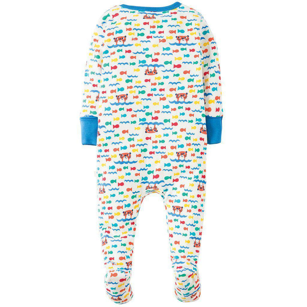 Frugi | Organic Cotton | Lovely Babygrow | Otter Splash Growsuit Frugi