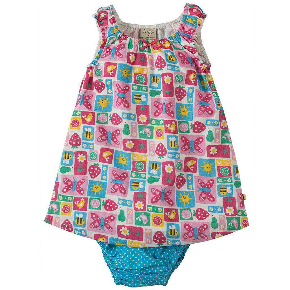 Frugi | Organic Cotton | Pretty Dress Set | Strawberry Patchwork Dress Frugi