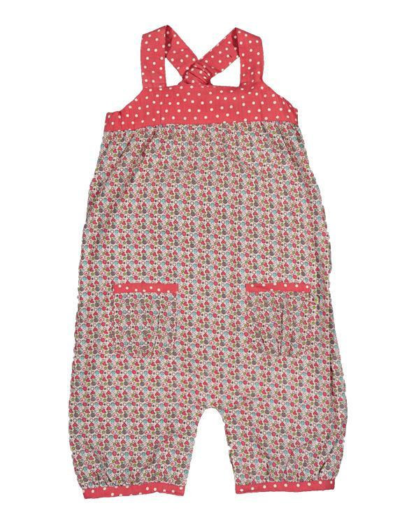 Frugi - Organic Cotton - Pretty Overalls - Heart Ditsy (0-3m only) Overalls Frugi