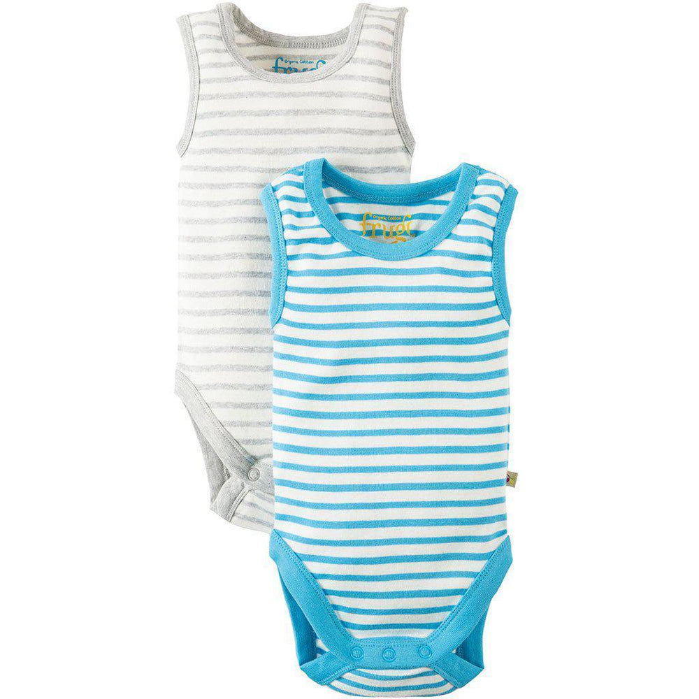Frugi | Organic Cotton | Sailor Vest Body | 2 Pack | Sky/Grey Stripe Bodysuit Frugi