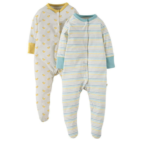Frugi | Organic Cotton | Sleepy Babygrow | 2 Pack | Bobbing Along Growsuit Frugi