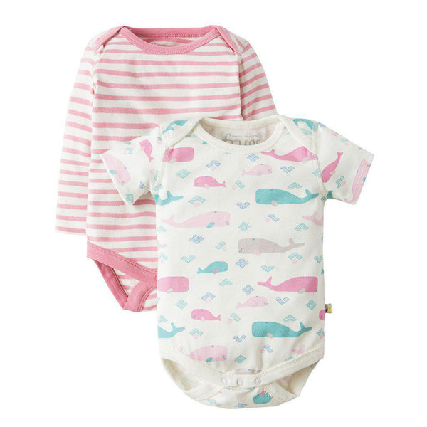 Frugi | Organic Cotton | Teeny Body | Little Whale Multipack | 2 Pack Bodysuit Frugi
