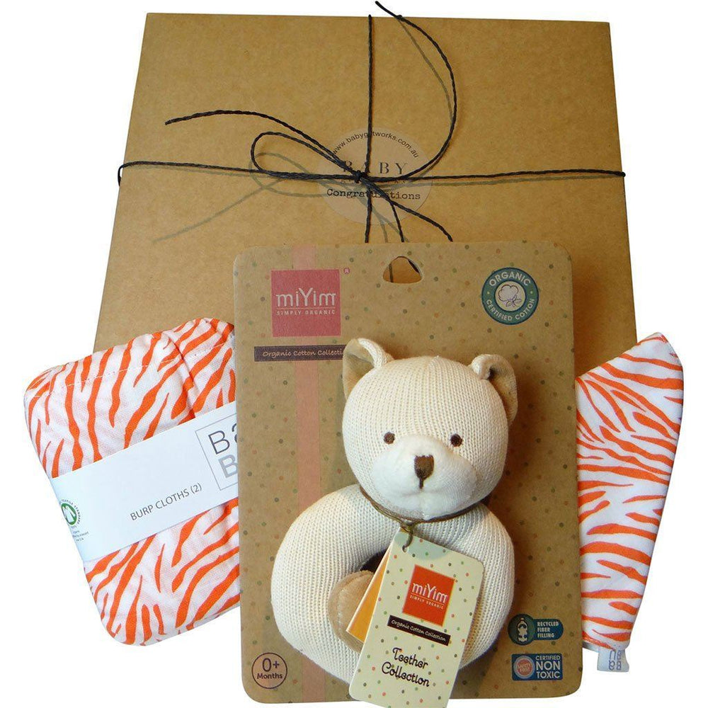 Happy Baby | Organic Baby Gift Box | Burp Cloths, Bib & Toy | Bear Gift Box Baby Gift Works Orange