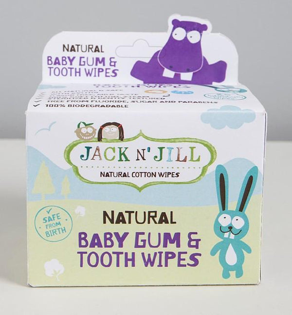 Jack'n'Jill - Natural Cotton Wipes - Natural Baby Gum & Tooth Wipes - Safe from Birth (25 pack) Oral Care Jack'n'Jill