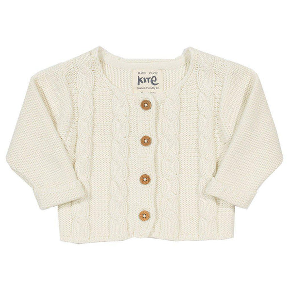 Kite - Organic Cotton - Cable Cardi (Sizes 6 months to 3 years) Cardigan Kite