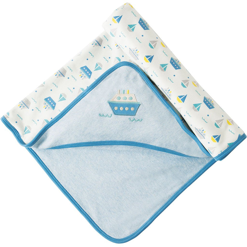 Little Hug | Hooded Blanket | Summer Seas Blanket Frugi