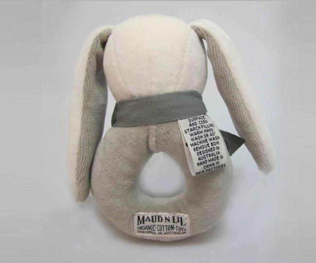 Maud'n'Lil Ears - Organic Cotton - Bunny Donut Rattle - Pink, Blue or Grey Toy Maud N Lil