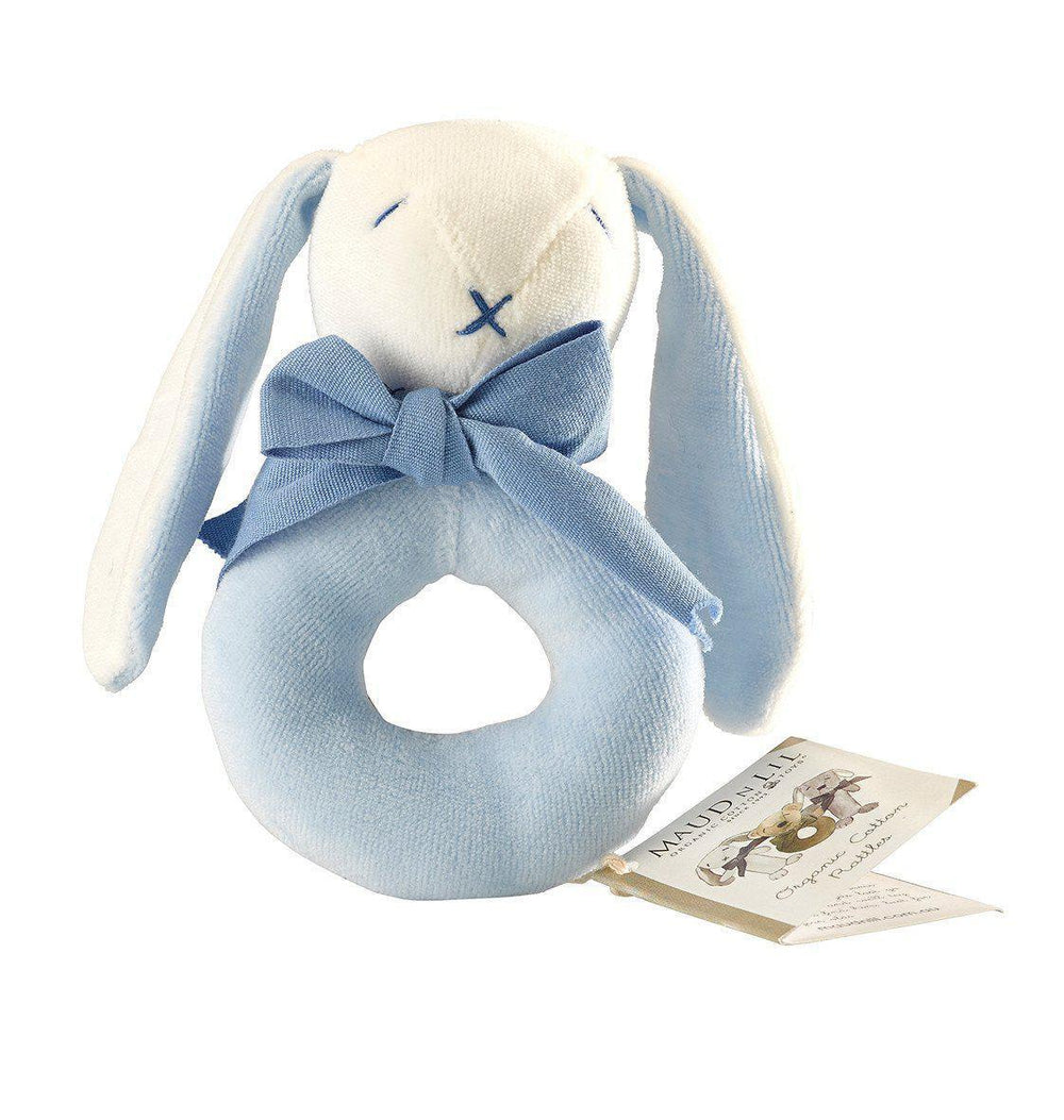 Maud'n'Lil Ears - Organic Cotton - Bunny Donut Rattle - Pink, Blue or Grey Toy Maud N Lil Blue