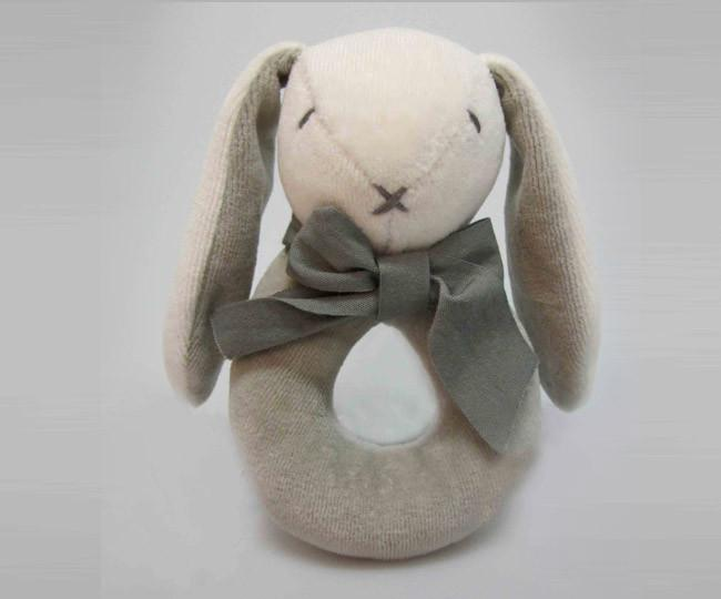 Maud'n'Lil Ears - Organic Cotton - Bunny Donut Rattle - Pink, Blue or Grey Toy Maud N Lil Grey