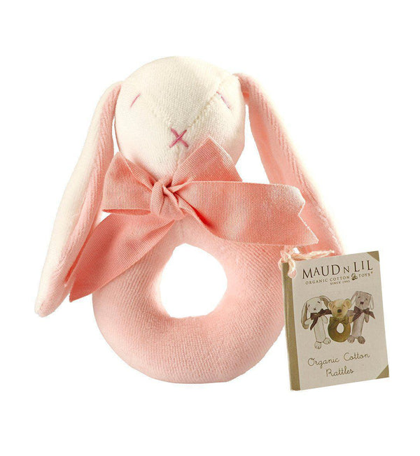 Maud'n'Lil Ears - Organic Cotton - Bunny Donut Rattle - Pink, Blue or Grey Toy Maud N Lil Pink