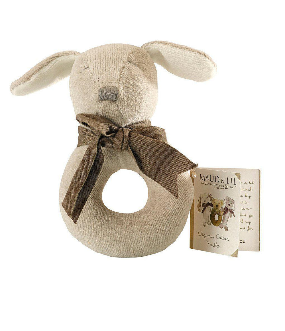 Maud'n'Lil Ears - Organic Cotton - Donut Rattle - Paws the Puppy Toy Maud N Lil Puppy