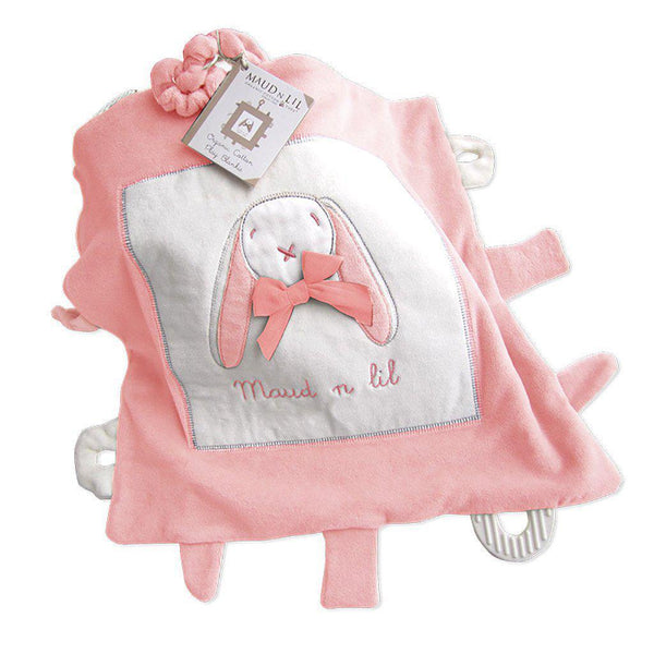 Maud'n'lil | Organic Cotton | Soft Play Blankie + Attachments (35cmx35cm) | Pink Toy Maud N Lil
