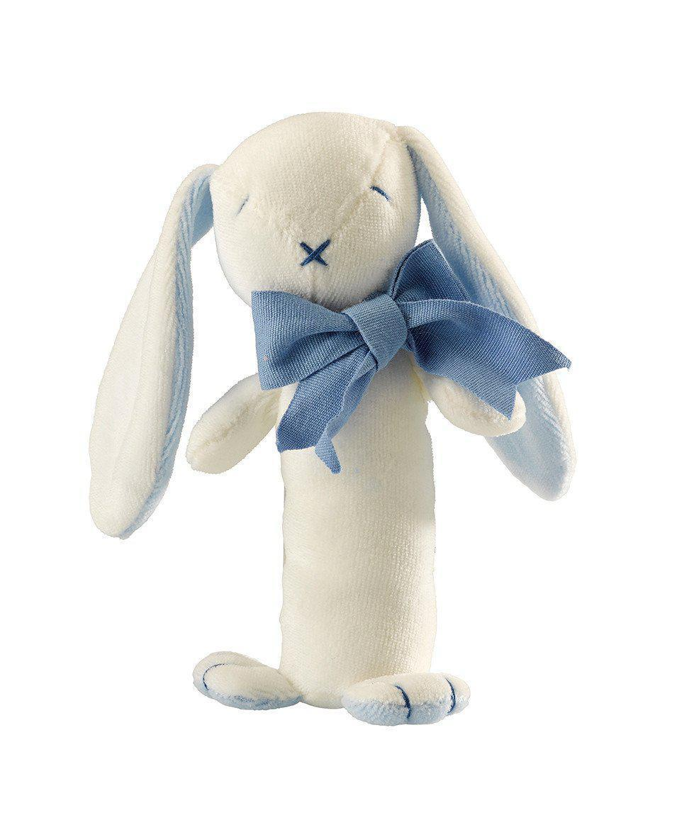 Maud'n'Lil - Organic Cotton - Stick Rattle - Ears the Bunny - Pink, Blue or Grey Toy Maud N Lil Blue