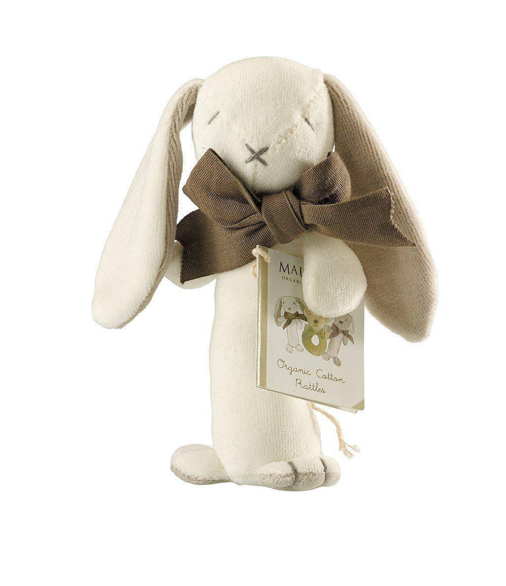 Maud'n'Lil - Organic Cotton - Stick Rattle - Ears the Bunny - Pink, Blue or Grey Toy Maud N Lil Grey
