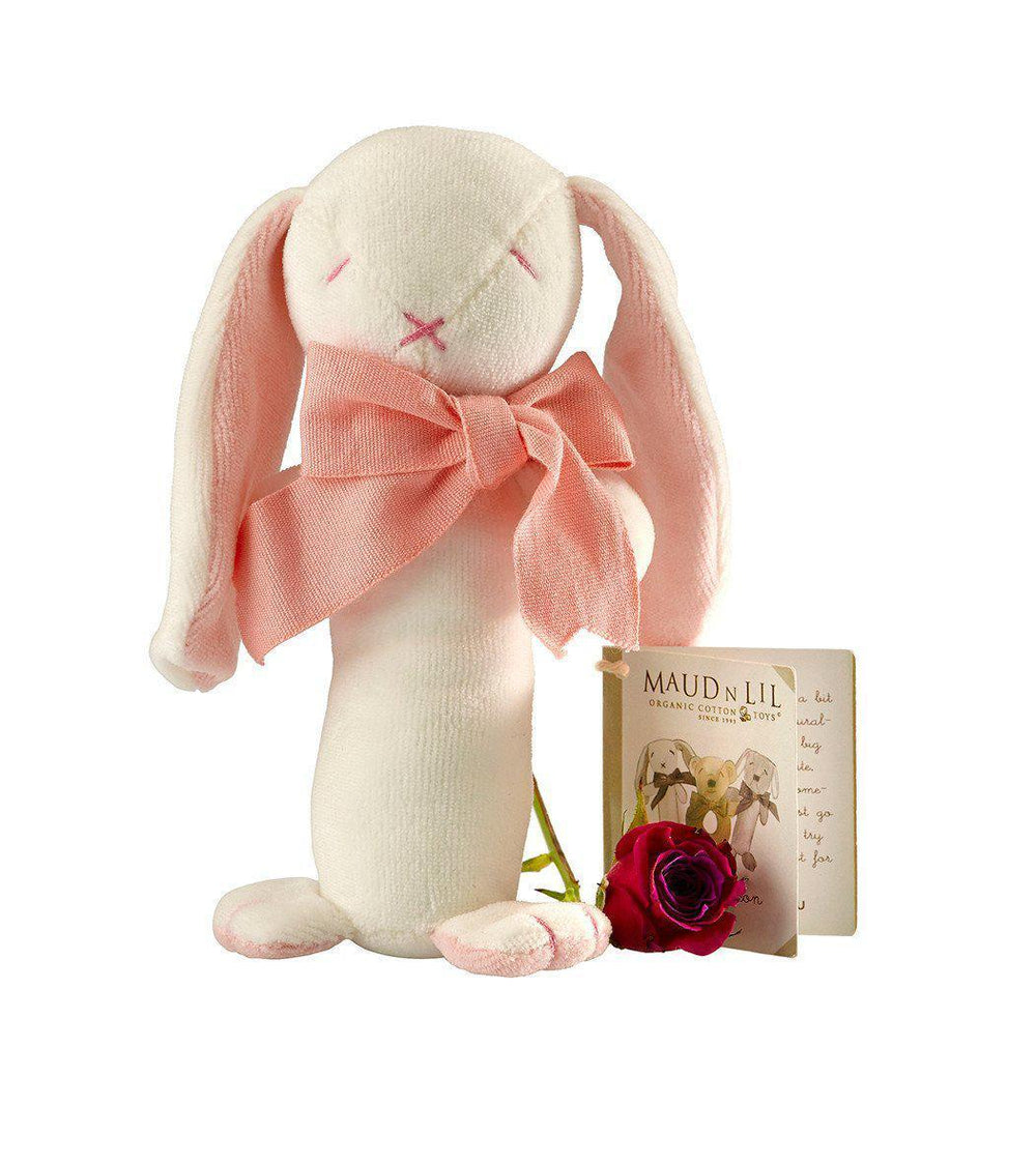 Maud'n'Lil - Organic Cotton - Stick Rattle - Ears the Bunny - Pink, Blue or Grey Toy Maud N Lil Pink