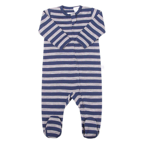 Merino Wool - Extra Fine - Superwash - Growsuit - Choice of Colours - Premature Romper Babu Navy Stripe