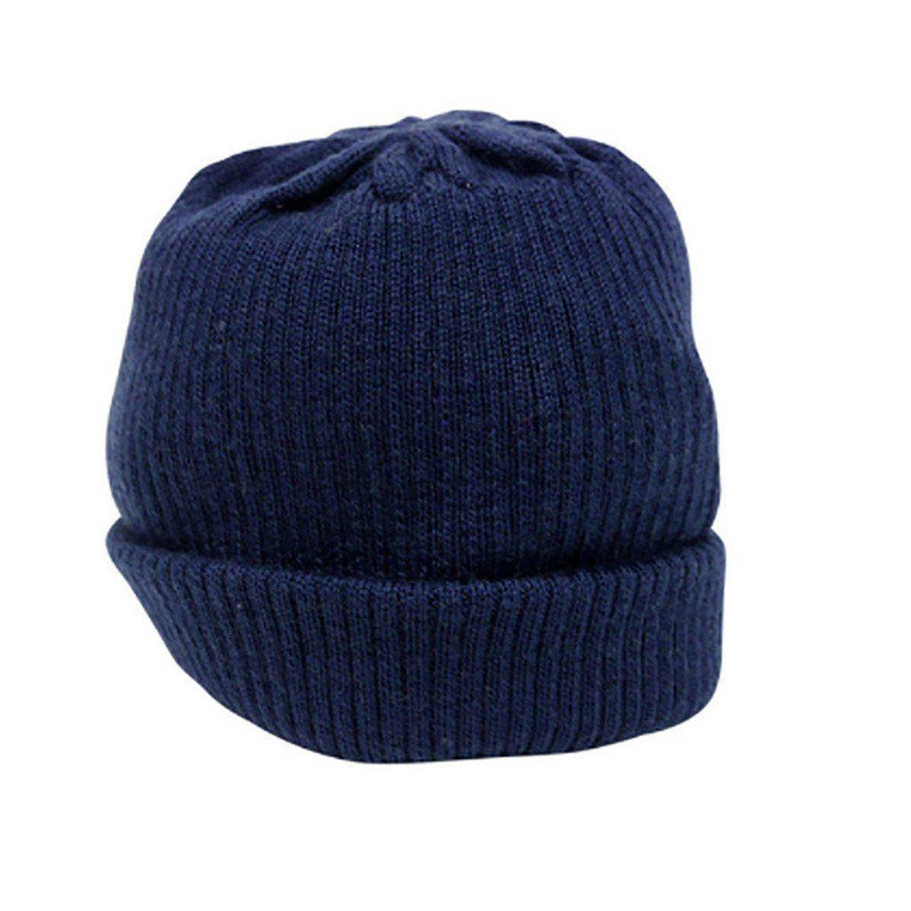 Merino Wool - Knitted Rib - Hat - Multiple Colours - Sizes Prem to 12 months Hat Babu Navy Prem (00000)