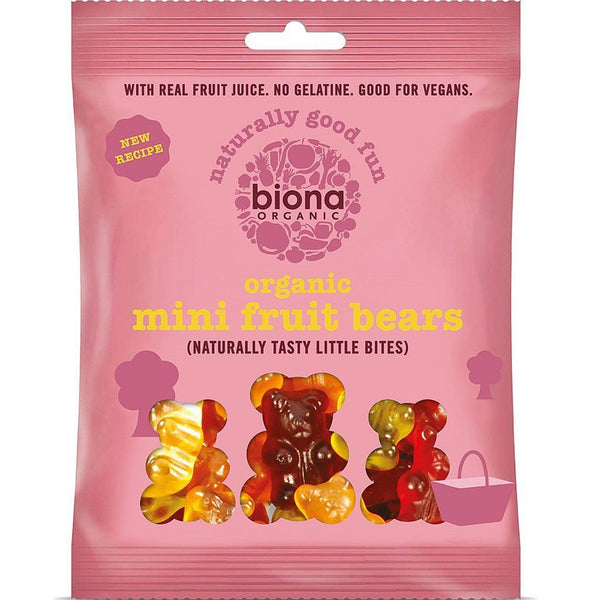 Mini Fruit Bears | Organic Vegan | Naturally Tasty Fruit Gums | 75g Snacks Biona Organic