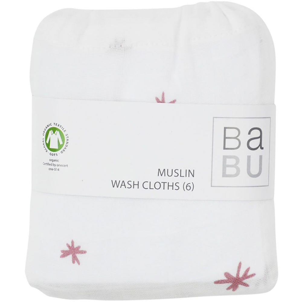 Muslin Wash Cloths | Organic Cotton | 6 Pack | Star | 5 Colours Wash Cloths Babu