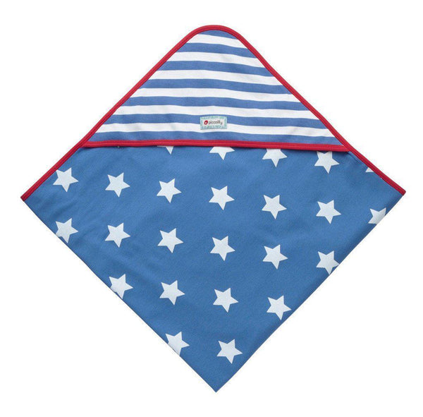 Piccalilly - Organic Cotton - Hooded Baby Shawl - Stars and Stripes Blanket Piccalilly