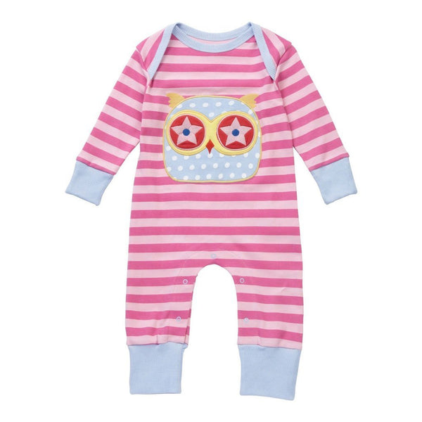 Playsuit/Growsuit | Organic Cotton | Pink Stripe with Owl Applique Romper Piccalilly