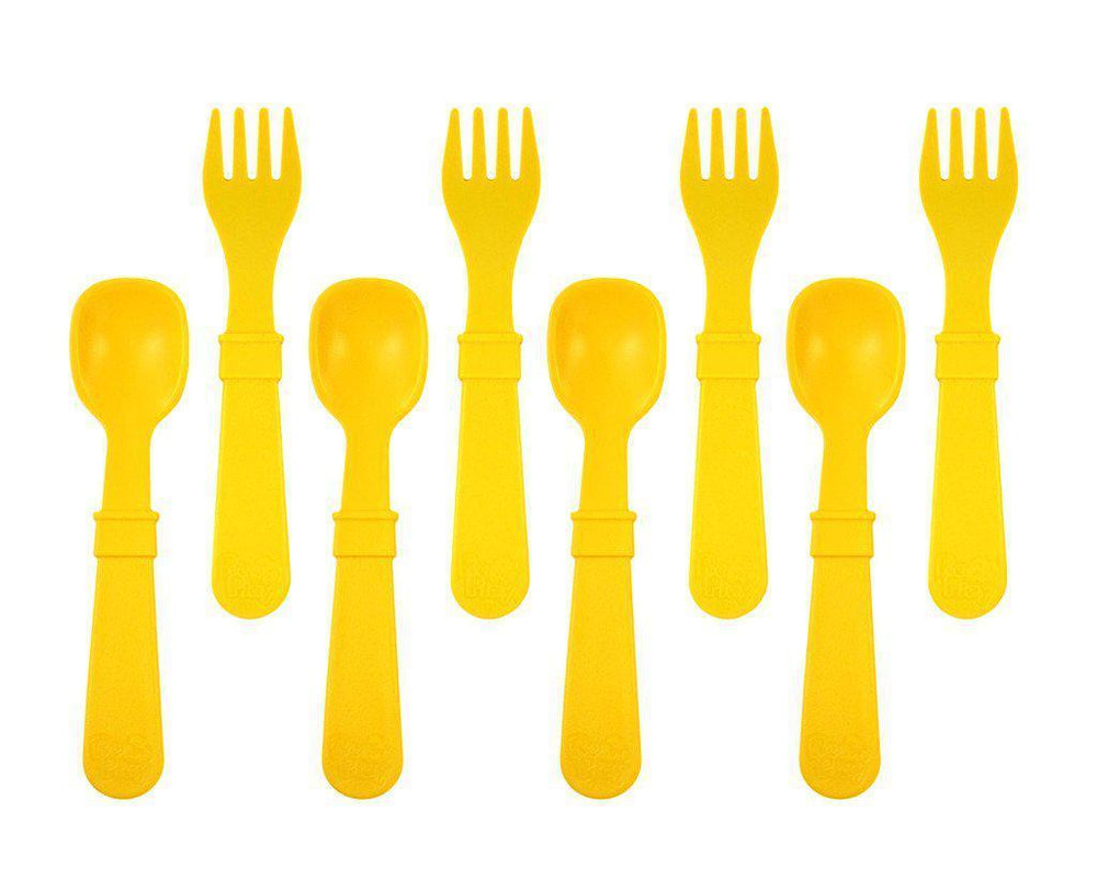 Re-Play - Utensils - Fork and Spoon - Many Colours to Chose From Eating and Drinking Re-play Sunny Yellow