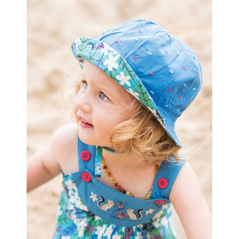 Reversible Ditsy Hat | Organic Cotton | Daisy Chipmunks Hat Frugi
