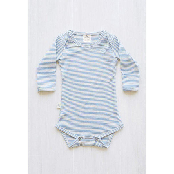 Roots & Wings | Organic Merino | Handmade in NZ | Bodysuit | North Sea Stripe | 0-3 months Bodysuit Roots & Wings Merino