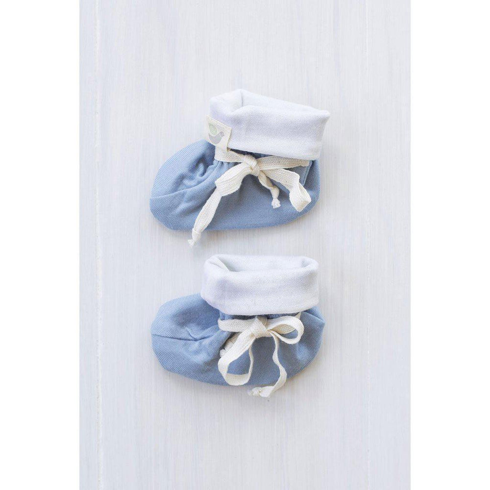 Roots & Wings | Organic Merino | Handmade in NZ | Booties | North Sea Blue | 0-3 months Booties Roots & Wings Merino