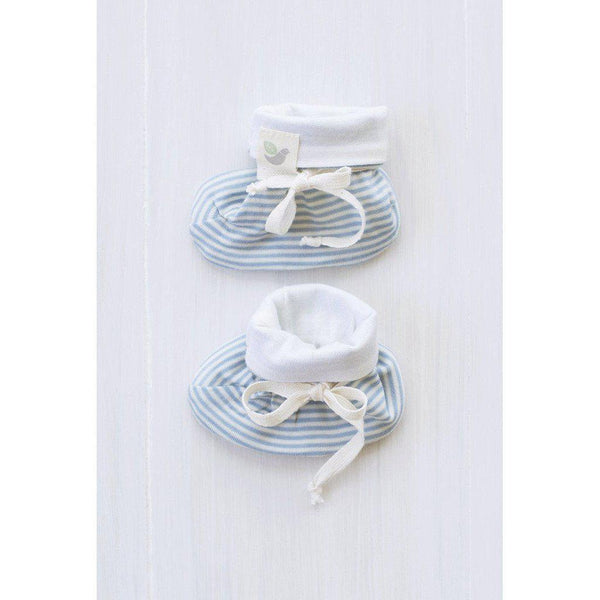 Roots & Wings | Organic Merino | Handmade in NZ | Booties | North Sea Stripe | 0-3 months Booties Roots & Wings Merino