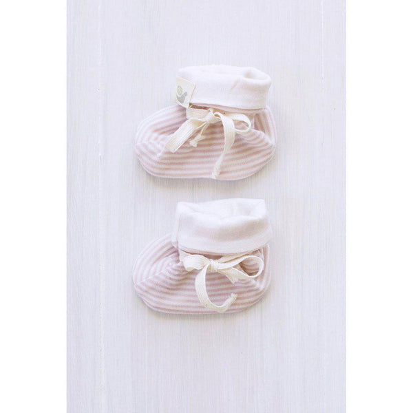 Roots & Wings | Organic Merino | Handmade in NZ | Booties | Rose Stripe | 0-3 months Booties Roots & Wings Merino