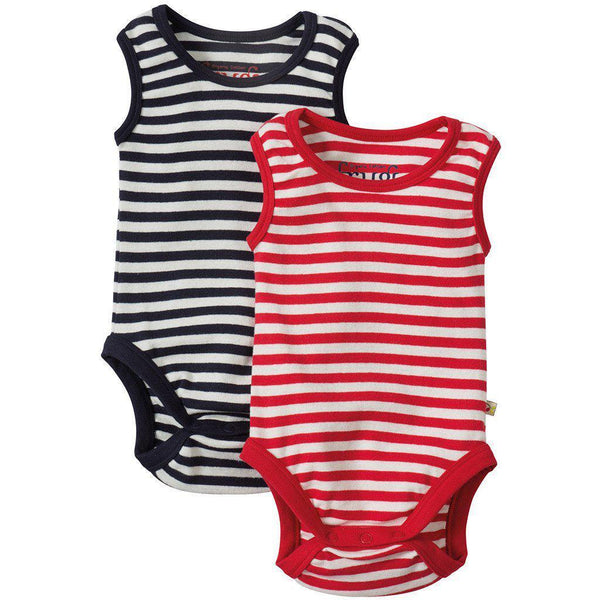 Sailor Vest Body - Tomato or Navy Stripe - Organic Cotton Bodysuit Frugi Newborn