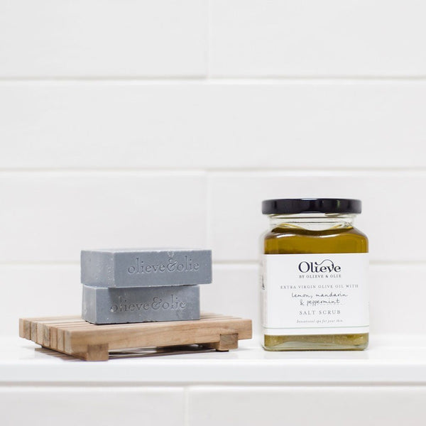 Salt Scrub in Glass Jar | Lemon, Mandarin& Peppermint | 295mL Mum Olieve & Olie