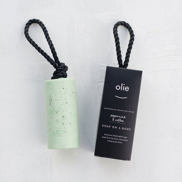 Soap on a Rope | All Natural | Australian-made | Peppermint & Coffee | 250g Skin Care Olieve & Olie