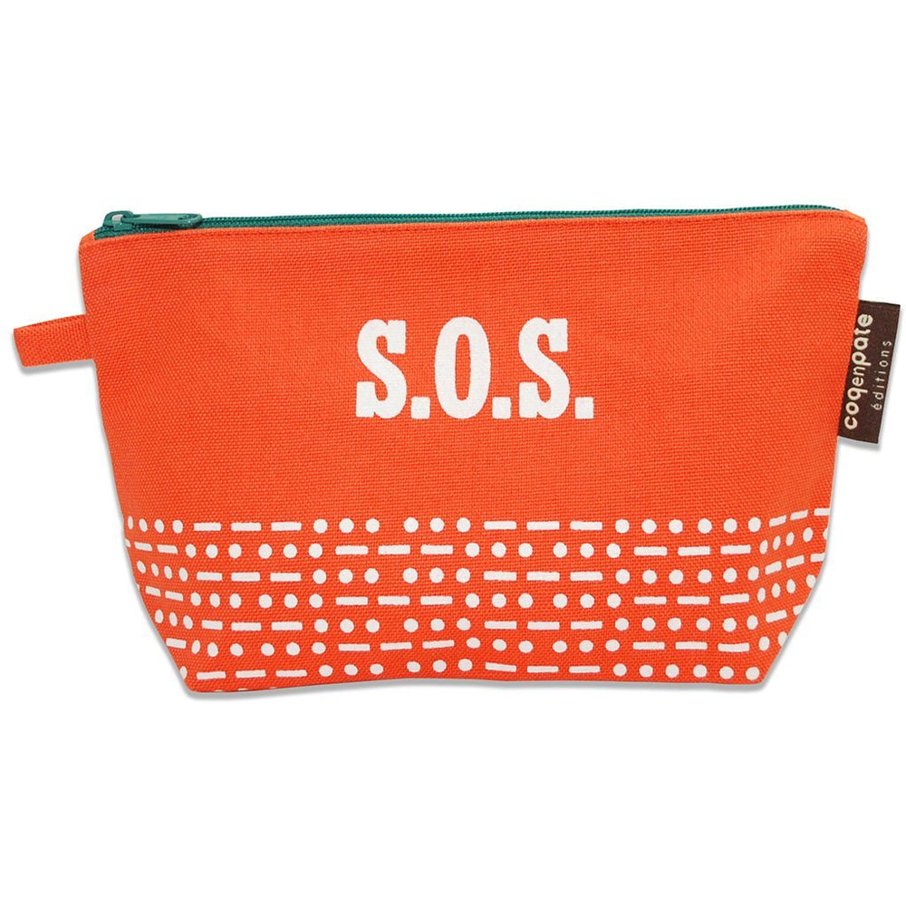 Orange SOS organic cotton cosmetic bag from Coq en Pate