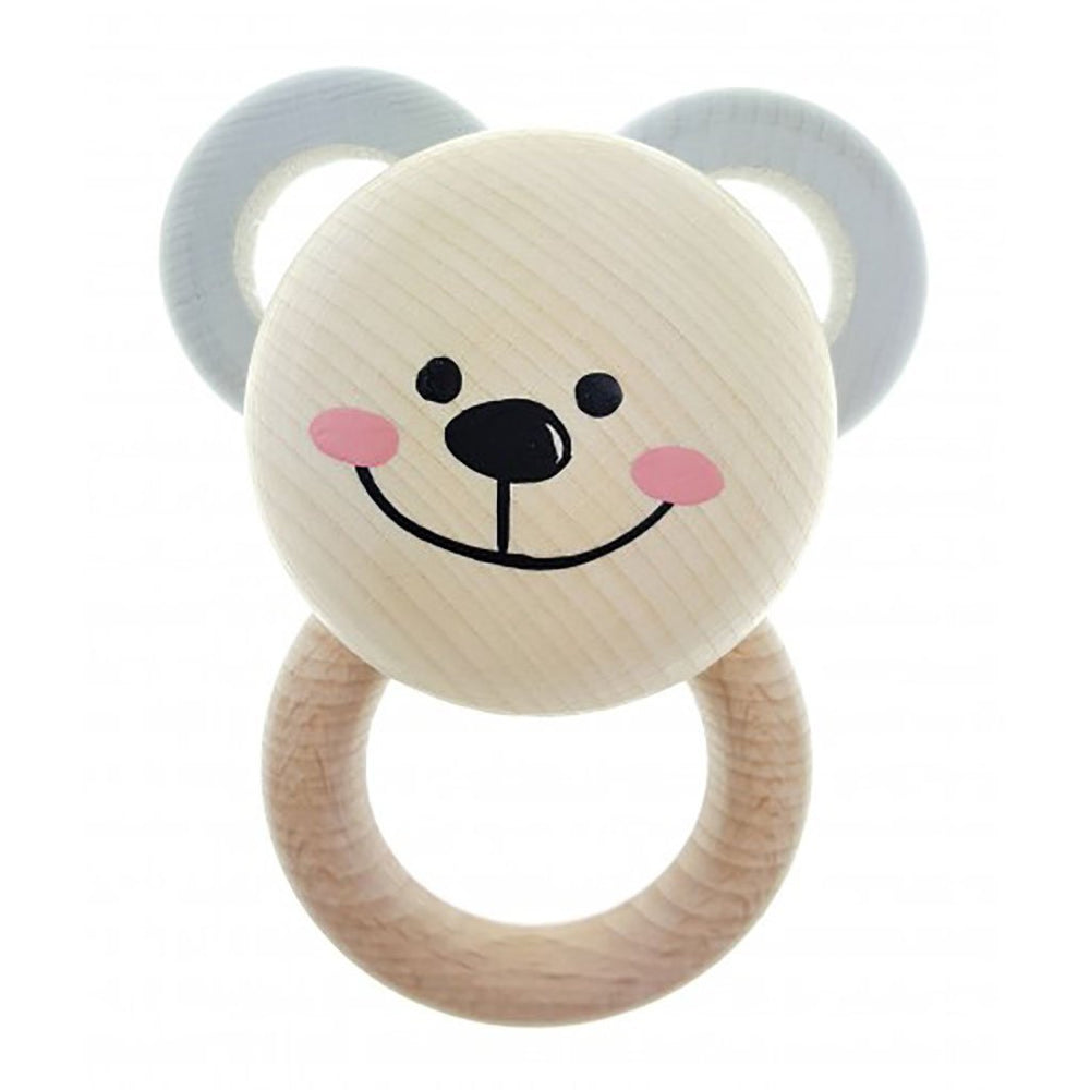 Wooden Baby Toy | Eco-friendly | Bear Teether Rattle | Natural Teethers Hess-Spielzeug