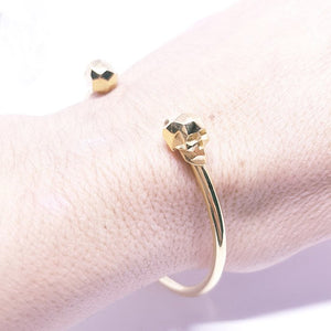 Gold Plated Faceted skull cuff