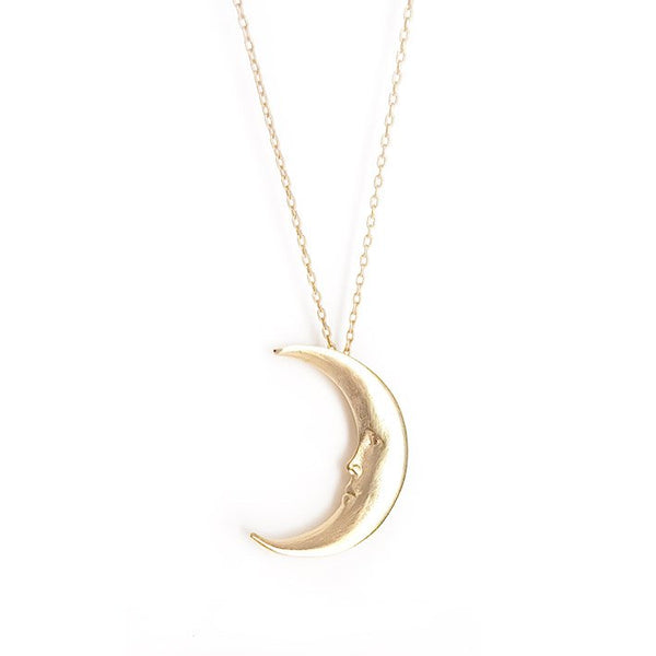 Golden Moon face necklace
