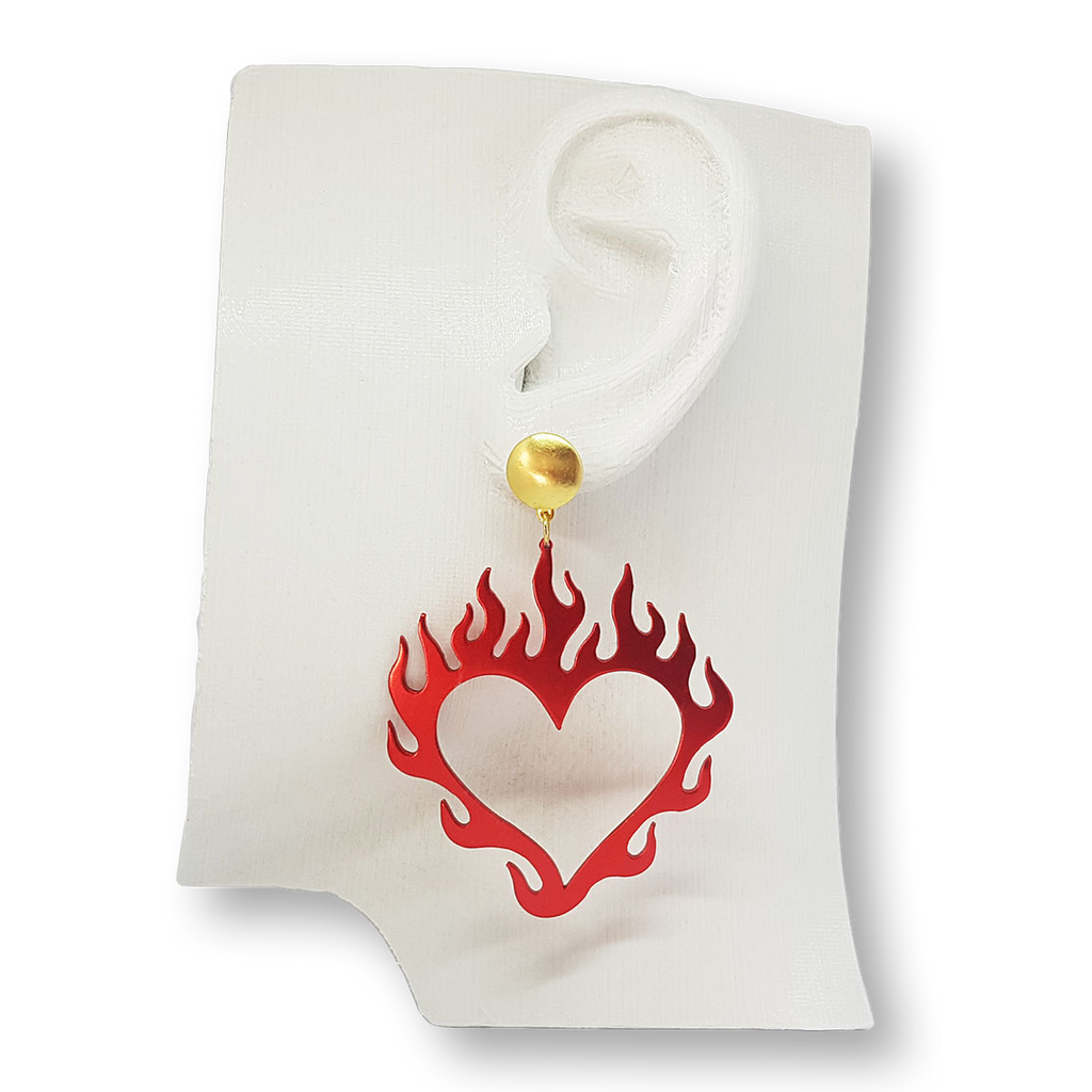 Flame heart earrings